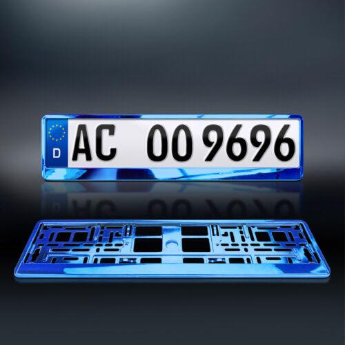 1x KennzeichenhalterBLAUMetallicHochglanzChrom-Look520 x 110 mm