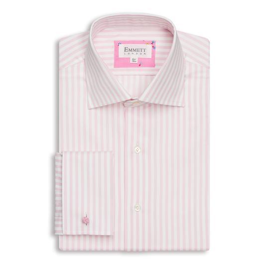 Emmett London Pink & White Stripe Slim Fit Shirt Collar Size 16 TD170 SS 05