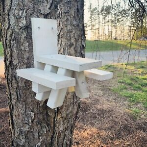 Squirrel-Feeder-Picnic-Table-WHITE-in-Color-Solid-Wood-Made-In-USA