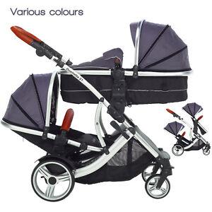 Kids-Kargo-Duellette-BS-CB-double-Tandem-twin-pushchair-pram-for-Newborn-Toddler