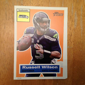 online retailer eb6b5 b0ef2 Details about RUSSELL WILSON #100 SEAHAWKS MVP #ed/99 made 2015 Topps  Heritage Throwback 5x7