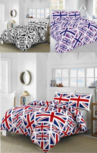 Magnifique Union Jack Drapeau Britannique couette couverture ensemble de lit toutes tailles 3 couleurs