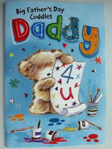 Big Cuddles Papa Ours Mignon Peinture /& étoile Design Fête des Pères Carte Lovely Verset
