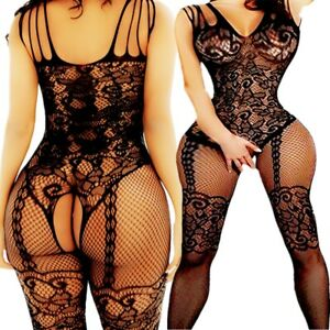 Adult-Fishnet-Body-Stockings-Babydoll-Sleepwear-New-Bodysuit-Lingerie-Women-039-s