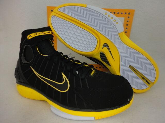 Nike Air Zoom Huarache 2K4, Retro, Kobe, Black   Varsit Maize, Sz 9.5