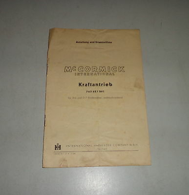Operating Instructions/parts Catalog Mccormick Kraftantrieb For Bindemäher D6/ Farming & Agriculture