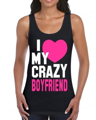 I Love My Crazy Boyfriend Womens Tank Top Funny Couples Matching Valentines Gift