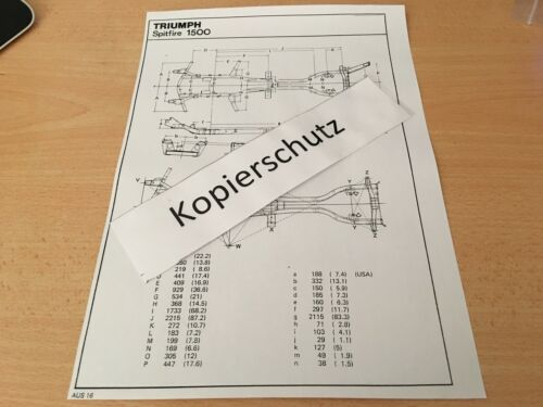 Triumph Spitfire 1500 Maßplan Bodengruppe