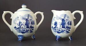 Vintage-Sugar-and-Creamer-Set-Delft-Blue-Holland-Dutch-Windmill-Made-in-Japan