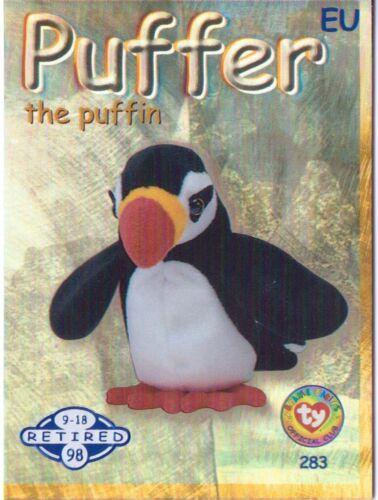 Ty S2 Beanie Card Retired PUFFER THE PUFFIN BLUE EUROPE EUROPEAN VERSION