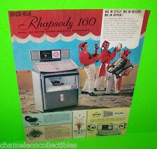 RHAPSODY 160 By ROCK OLA 1963 ORIGINAL JUKEBOX PHONOGRAPH PROMO SALES FLYER #2