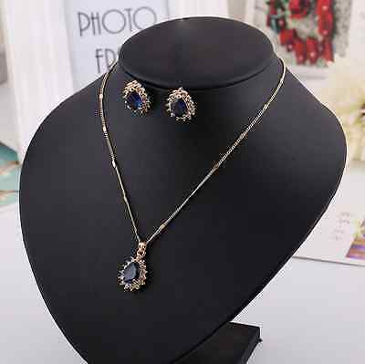 Super Beautiful Royal Rose Gold Sapphire/CZ Engagement Wedding Party Jewelry Set