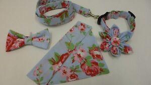 Rose-on-Blue-Collar-Lead-Bandana-Bow-tie-Flower-for-Dog-Cat-sizes-XXS-L