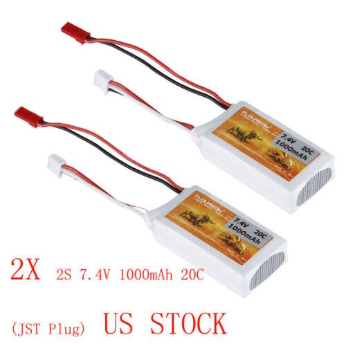 2x FLOUREON 1000mAh 2S 7.4V 20C LiPo Batterie für RC Auto Hobby Spielzeug PKW