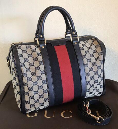 Gucci Large GG Monogram Boston Web Stripe Handbag