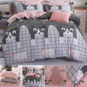 3pcs-Bedding-Set-Cute-cat-Print-Bedsheet-Quilt-Cover-Duvet-Cover-amp-Pillowcases