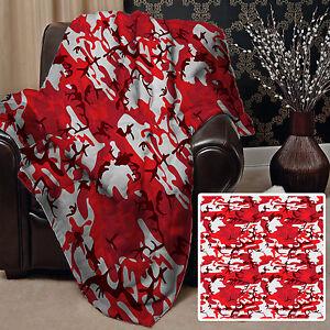 RED & WHITE CAMOUFLAGE DESIGN SOFT FLEECE THROW BLANKET GREAT GIFT IDEA
