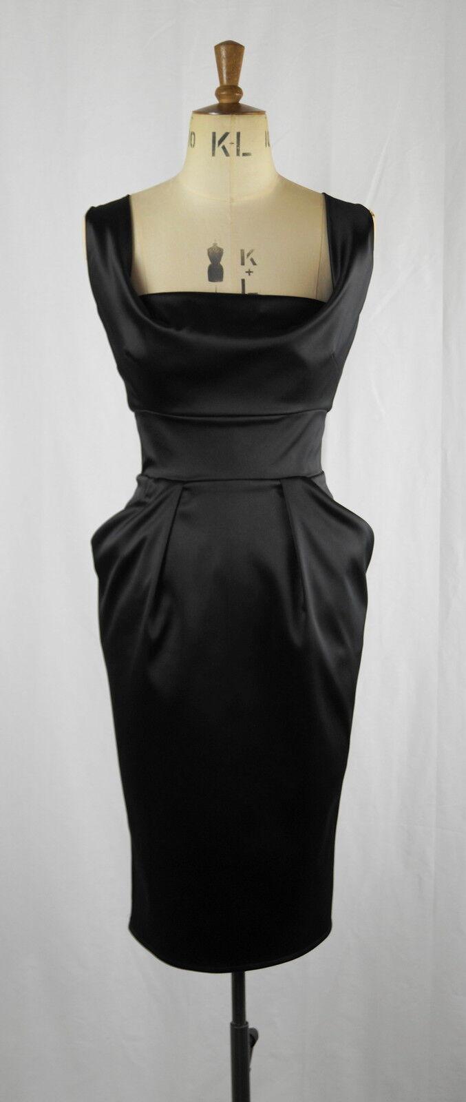 Baylis Knight schwarz Stretch Satin Drape BOMBSHELL Fitted Confidence Pencil Dress