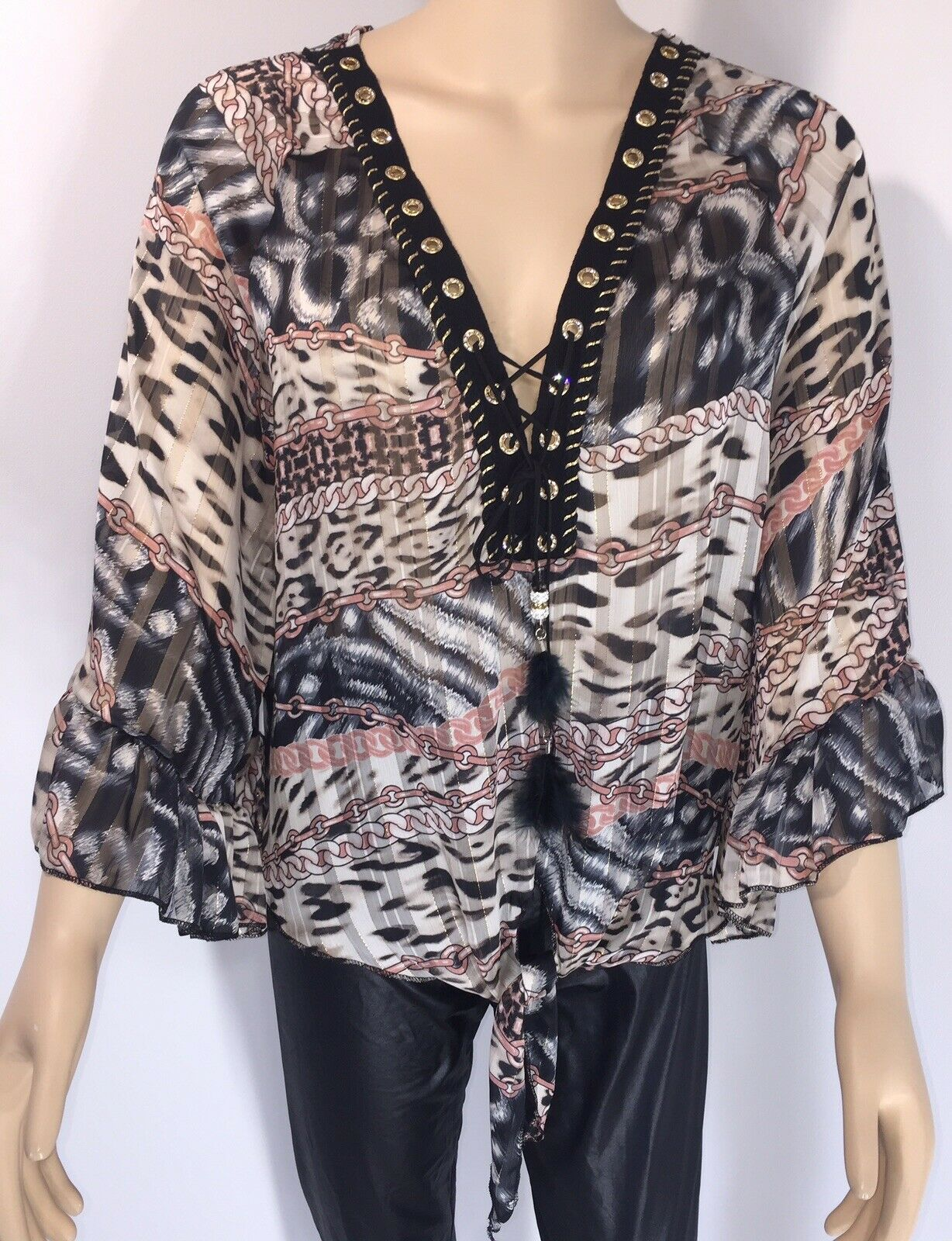 Leopard Chain Print Top Pink Tie Front Bell Sleeves gold Thread One Size NEW