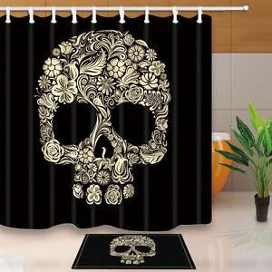 Skull-Flower-Bathroom-Fabric-Waterproof-Shower-Curtain-Liner-Bath-Mat-Rugs-Set