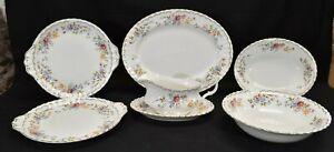 Royal-Albert-Jubilee-Rose-Platter-Vegetable-Bowls-Gravy-Boat-Cake-7-Pieces