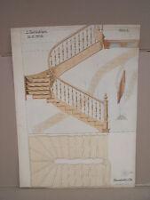 Antike Zeichnung Architekturmodell Treppe um 1900 Tischler Schreiner Meister