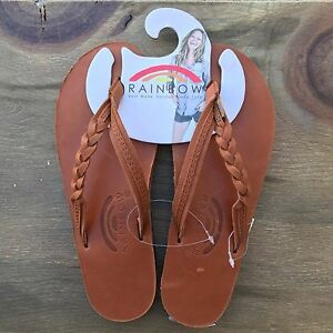 9d397b574519e7 Image is loading Women-Rainbow-Sandals-Flirty-Braidy-Strap-Tan-TT-