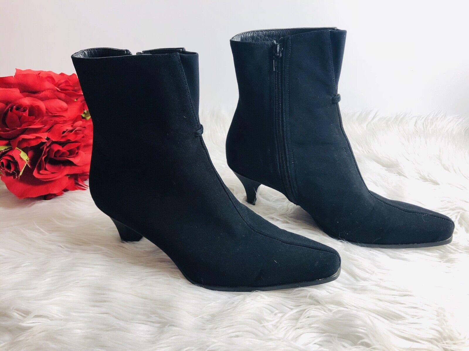 Stuart Weitzman Womens Back Zip Suede Ankle Boots Black Size 8W  8 1 2 M