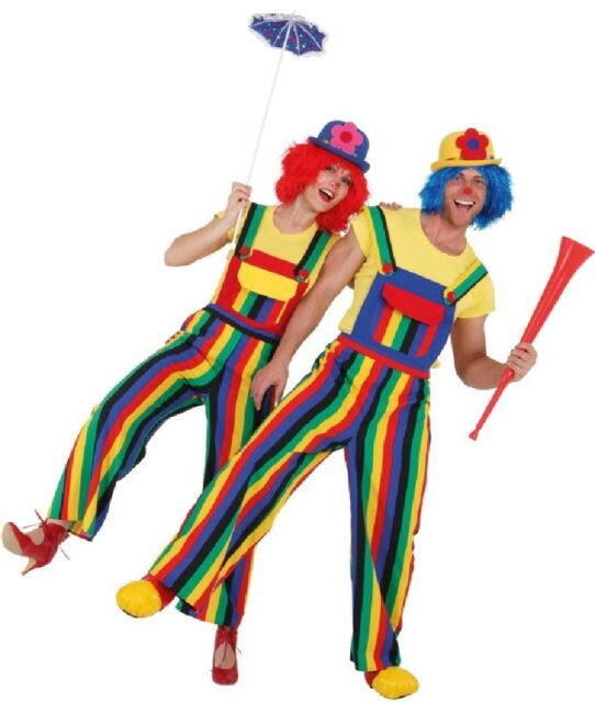 Couples Ladies AND Mens Spotty Comedy Clown Circus Fancy Dress Costumes Outfits