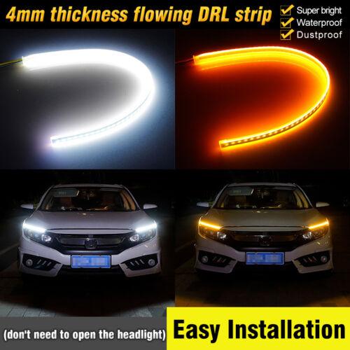 45CM LED Headlight Slim Strip Light Daytime Running Sequential Flow Signal 12V