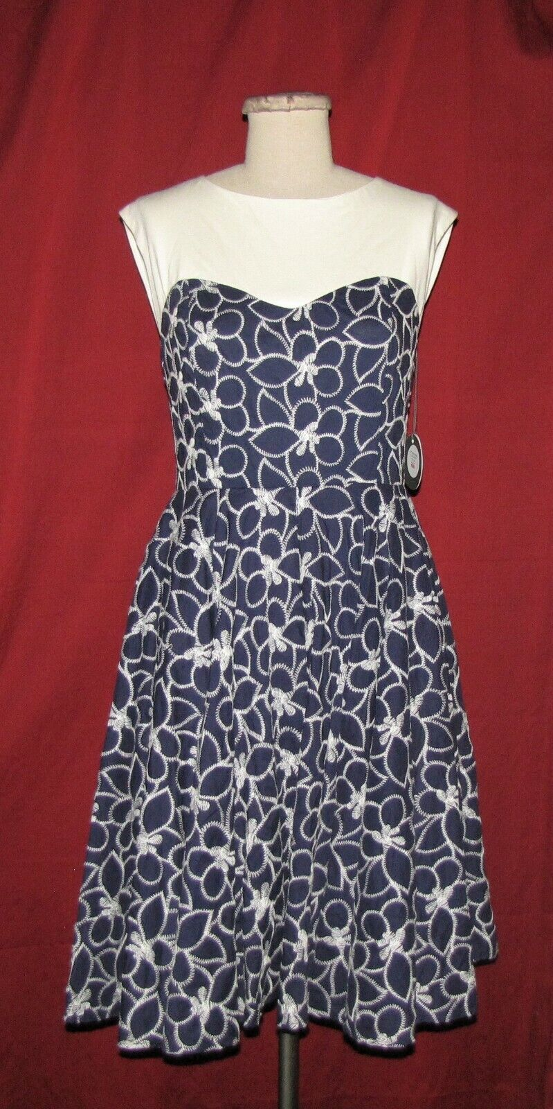 Eva Franco bluee & Ivory Embroidered Floral Pattern Sleevless A-Line Dress 10 NWT