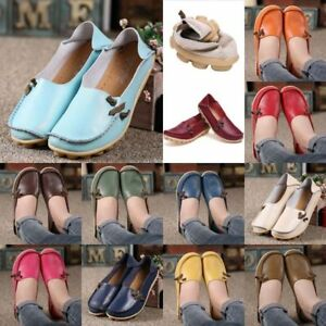 Women-039-s-Leather-Single-Shoes-Casual-Driving-Moccasin-Peas-Flats-Loafers-Slip-On
