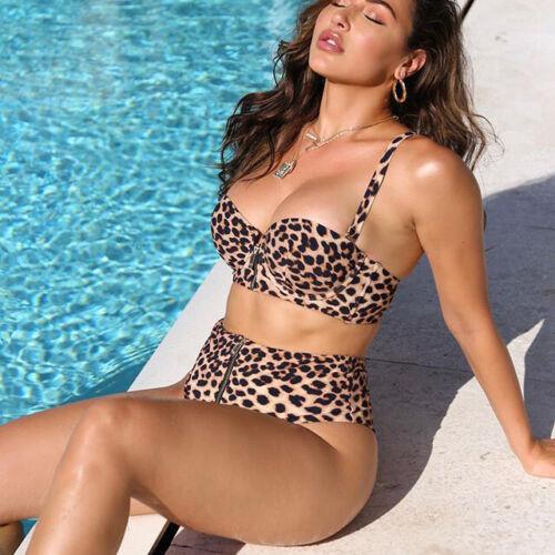 Femme Léopard Swimwear Maillot de bain taille haute maillot de bain Zipper Bikini Push Up