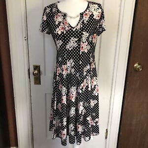 Sami-amp-Jo-Dress-Size-M-Black-Floral-Fit-N-Flare-Medium-V-Neck-Short-Sleeve