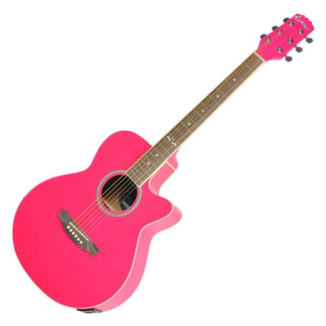 New Martinez Small-Body Acoustic-Electric Cutaway Guitar (Hot Pink)