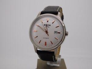 Boccia-Titanium-Herrenuhr-Uhr-Automatik-Datum-Leder-Glasboden-3586-03