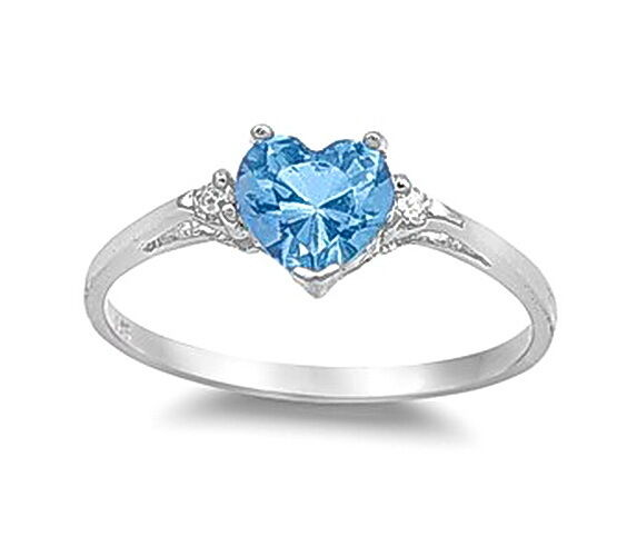 Sterling Silver Aquamarine Wedding Engagement Heart Love Women Crystal Ring R208