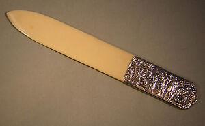 Schreibtischobjekte Falzmesser,brieföffner,silber,830,celluloid,um 1920,groß,25 Cm! Büro, Papier & Schreiben