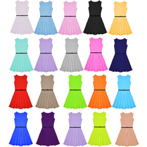 Girls Kids Party Casual Plain Skater Dresses With Belt Age 7-13 Years