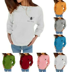Women-Autumn-Loose-Sweatshirts-Bee-Kind-Letter-Print-Long-Sleeve-Leisure-Blouses