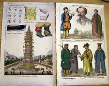 1830 DUE SPLENDIDE INCISIONI ORIGINALI A COLORI CON CINESI E CALMUCCHI. NANCHINO