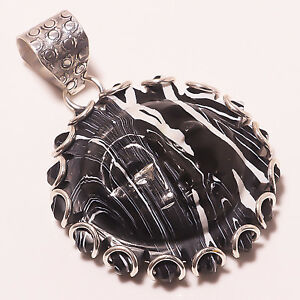 """Genteel Lovely Zebra Jasper Moonface Ethnic Style Jewelry Pendant 2"""" A-389 Sufficient Supply Necklaces & Pendants Jewelry & Watches"""