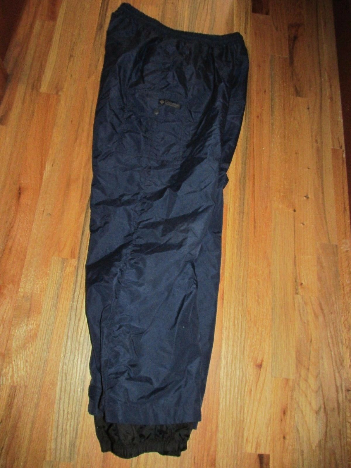 Columbus Vintage Navy Nylon Snowboarding Ski Pants Fully Lined Men's L AR31