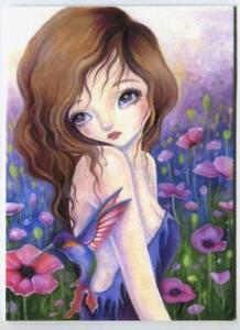 ACEO S/N L/E WOODLAND SPRITE GIRL GARDEN POPPIES FLOWER HUMMINGBIRD RARE PRINT