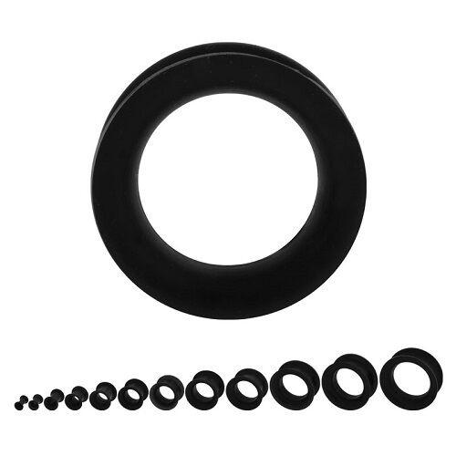 un piercing tunnel flexible noir taille de 3 mm à 10 mm