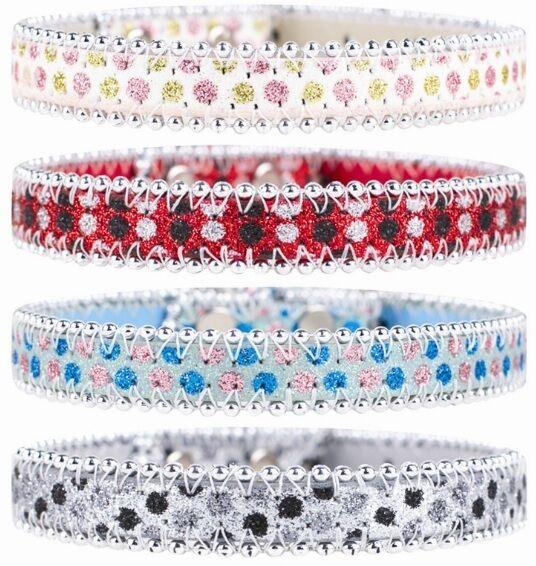 Glitter Bling con perline per collare cani-rosa Blu Nero Rosso (piccole)