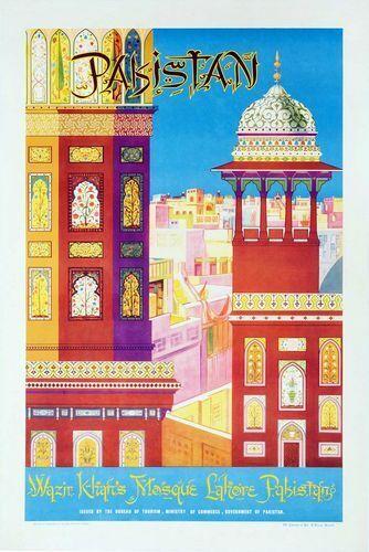 Vintage Lahore Pakistan Tourism Poster Print A3//A4