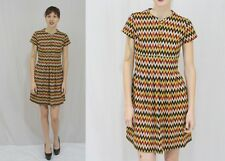 Vintage 60s MOD Zig Zag Chevron Empire Baby Doll Mini SCOOTER Boho Dress~S