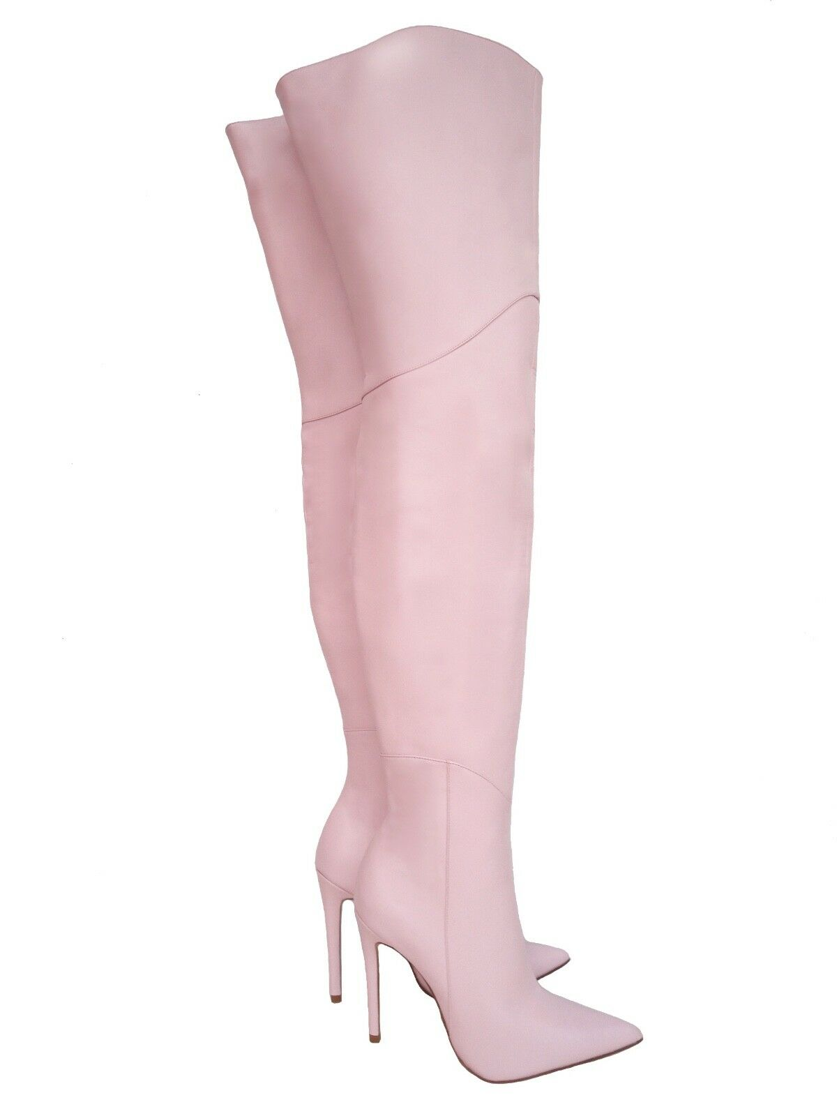 CQ COUTURE CUSTOM OVERKNEE BOOTS STIEFEL BOOTS SHOES LEATHER PINK BABY PINK 37