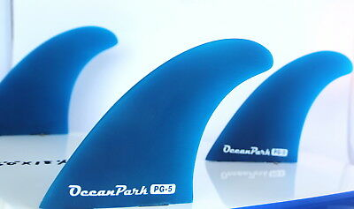 . set of 3 Surfboard Fins PG5 FCS Compatible Blue Surfing NEW Twin Tab THRUSTER